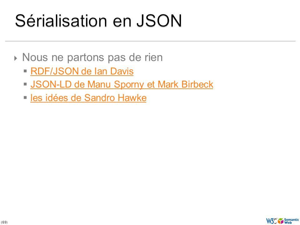 (69) Nous ne partons pas de rien RDF/JSON de Ian Davis JSON-LD de Manu Sporny et Mark Birbeck les idées de Sandro Hawke