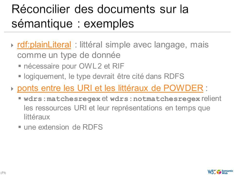 (71) rdf:plainLiteral : littéral simple avec langage, mais comme un type de donnée rdf:plainLiteral nécessaire pour OWL 2 et RIF logiquement, le type devrait être cité dans RDFS ponts entre les URI et les littéraux de POWDER : ponts entre les URI et les littéraux de POWDER wdrs:matchesregex et wdrs:notmatchesregex relient les ressources URI et leur représentations en temps que littéraux une extension de RDFS