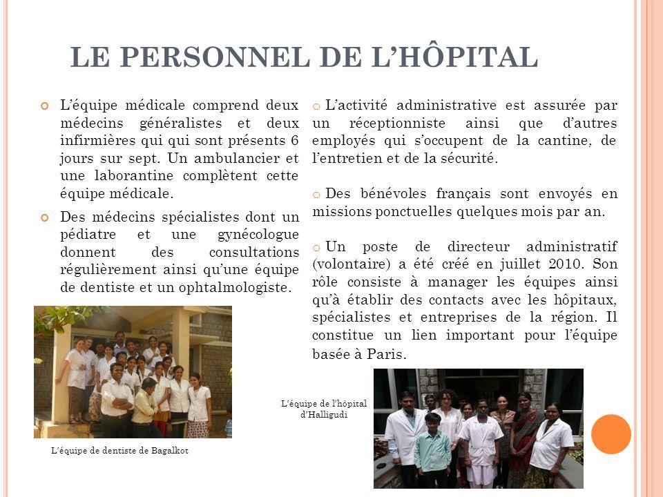 LE PERSONNEL DE LHÔPITAL Léquipe médicale comprend deux médecins généralistes et deux infirmières qui qui sont présents 6 jours sur sept.