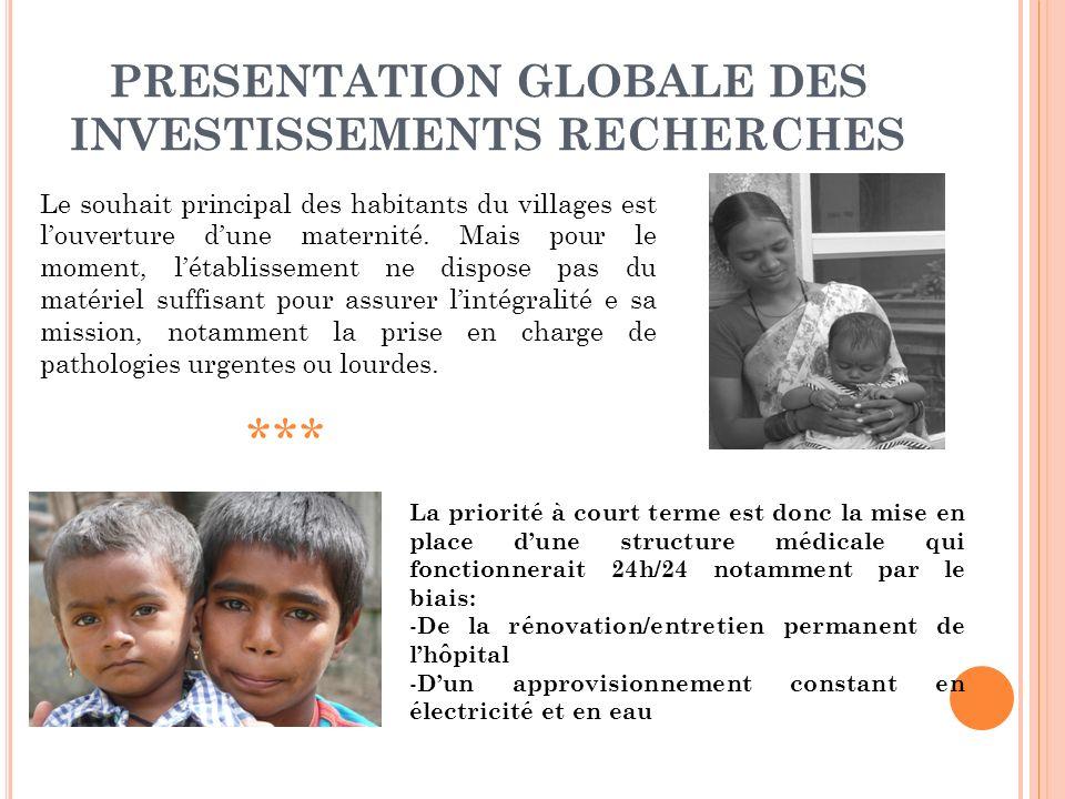 PRESENTATION GLOBALE DES INVESTISSEMENTS RECHERCHES Le souhait principal des habitants du villages est louverture dune maternité.