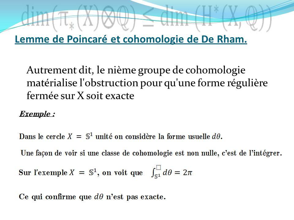 Autrement dit, le nième groupe de cohomologie matérialise l'obstruction pour qu'une forme régulière fermée sur X soit exacte Lemme de Poincaré et coho