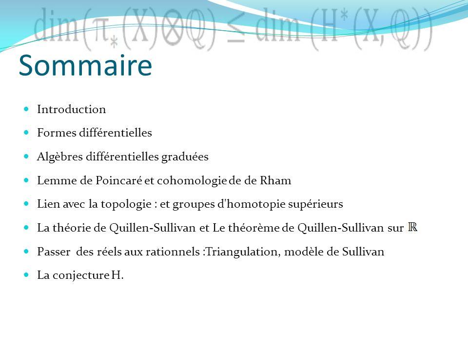 Sommaire Introduction Formes différentielles Algèbres différentielles graduées Lemme de Poincaré et cohomologie de de Rham Lien avec la topologie : et