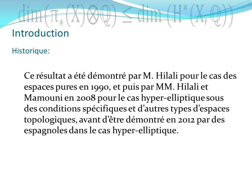 Ce résultat a été démontré par M. Hilali pour le cas des espaces pures en 1990, et puis par MM. Hilali et Mamouni en 2008 pour le cas hyper-elliptique