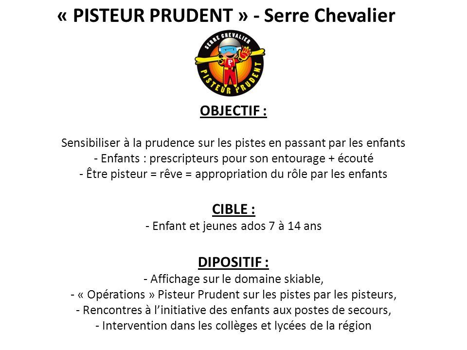« PISTEUR PRUDENT » - Serre Chevalier CIBLE : - Enfant et jeunes ados 7 à 14 ans DIPOSITIF : - Affichage sur le domaine skiable, - « Opérations » Pist