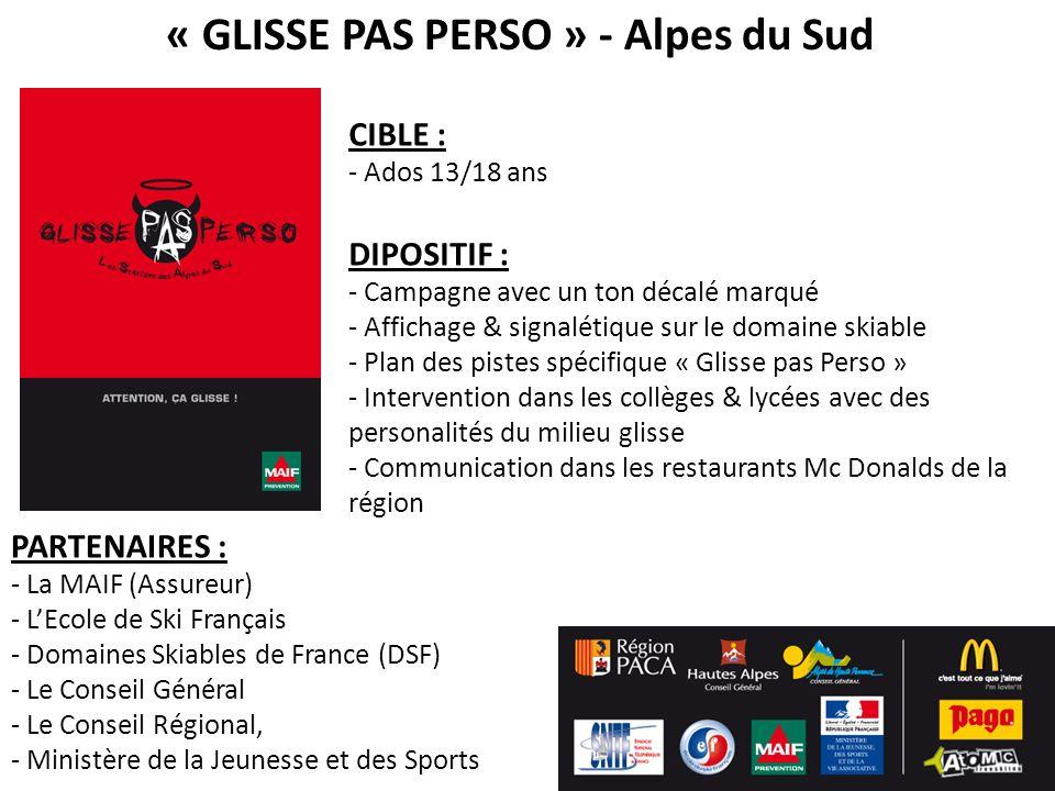 « GLISSE PAS PERSO » - Alpes du Sud CIBLE : - Ados 13/18 ans DIPOSITIF : - Campagne avec un ton décalé marqué - Affichage & signalétique sur le domain