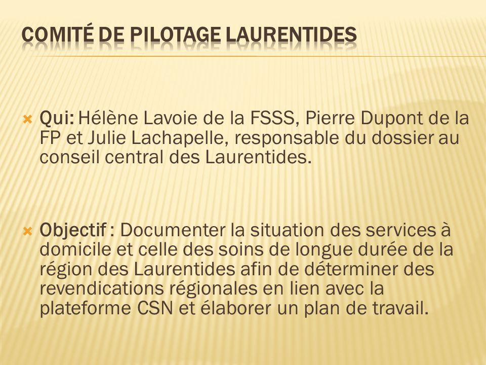 Qui: Hélène Lavoie de la FSSS, Pierre Dupont de la FP et Julie Lachapelle, responsable du dossier au conseil central des Laurentides.
