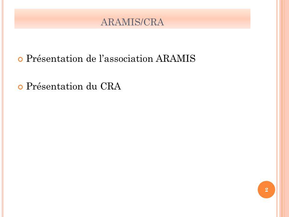 ARAMIS/CRA Présentation de lassociation ARAMIS Présentation du CRA 2