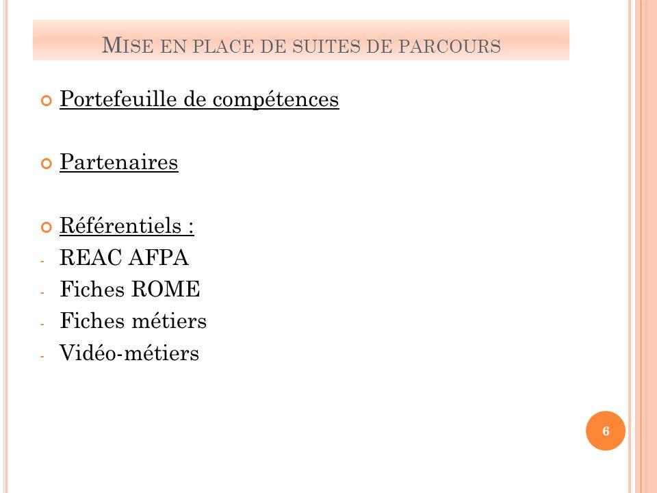 M ISE EN PLACE DE SUITES DE PARCOURS Portefeuille de compétences Partenaires Référentiels : - REAC AFPA - Fiches ROME - Fiches métiers - Vidéo-métiers 6