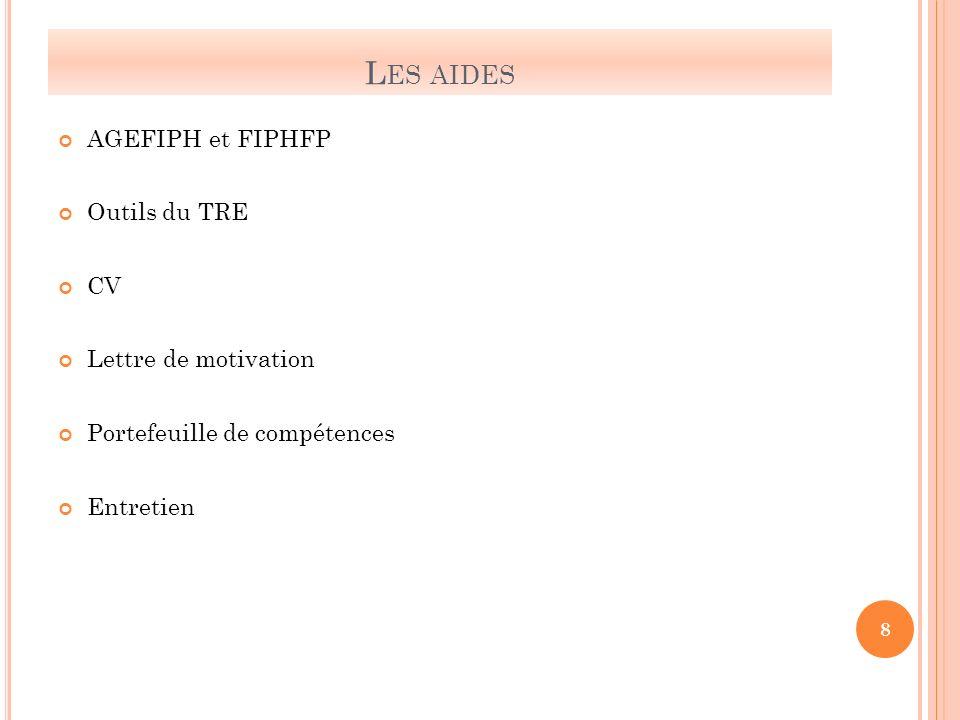 L ES AIDES AGEFIPH et FIPHFP Outils du TRE CV Lettre de motivation Portefeuille de compétences Entretien 8