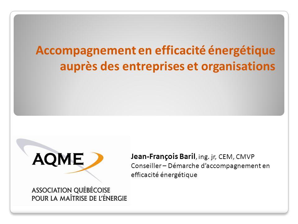 Accompagnement en efficacité énergétique auprès des entreprises et organisations Jean-François Baril, ing.