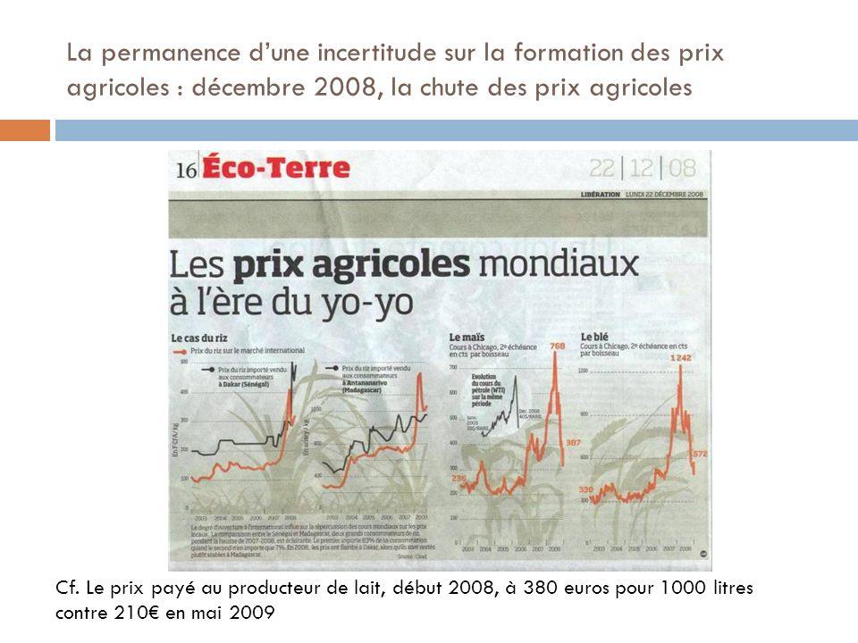 La permanence dune incertitude sur la formation des prix agricoles : décembre 2008, la chute des prix agricoles Cf. Le prix payé au producteur de lait