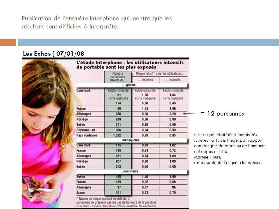 Publication de lenquête interphone qui montre que les résultats sont difficiles à interpréter Les Echos [ 07/01/08 = 12 personnes « Le risque relatif