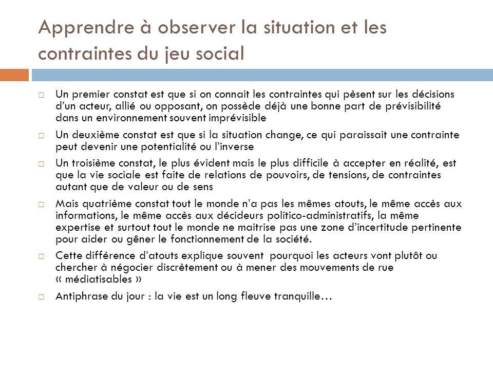 Apprendre à observer la situation et les contraintes du jeu social Un premier constat est que si on connait les contraintes qui pèsent sur les décisio