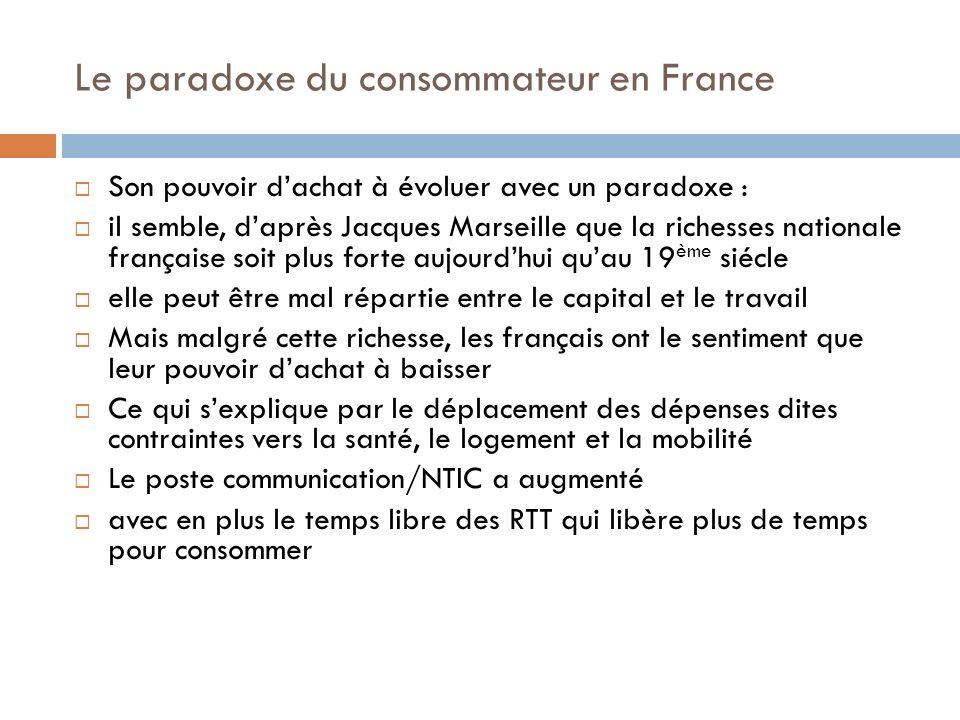 Le paradoxe du consommateur en France Son pouvoir dachat à évoluer avec un paradoxe : il semble, daprès Jacques Marseille que la richesses nationale f