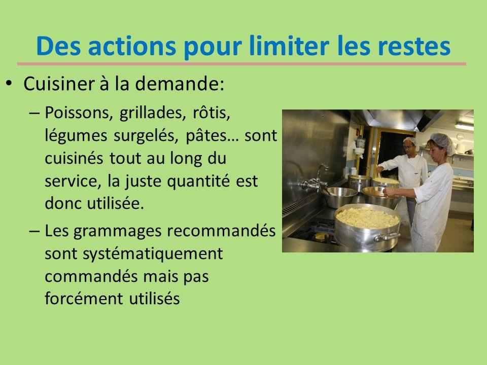 Des actions pour limiter les restes Cuisiner à la demande: – Poissons, grillades, rôtis, légumes surgelés, pâtes… sont cuisinés tout au long du service, la juste quantité est donc utilisée.