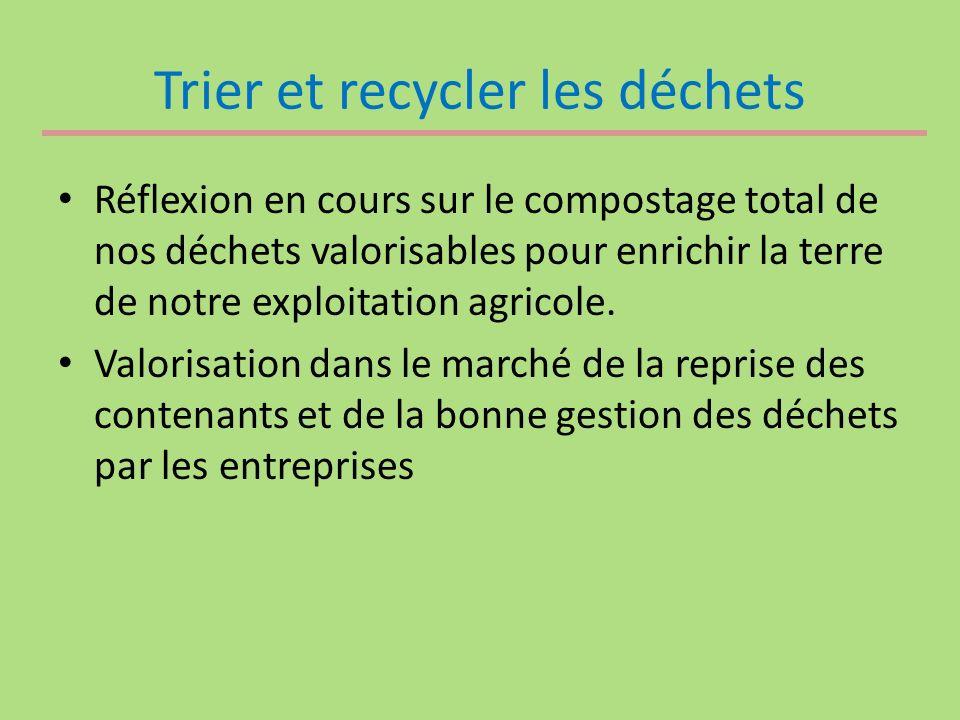 Trier et recycler les déchets Réflexion en cours sur le compostage total de nos déchets valorisables pour enrichir la terre de notre exploitation agricole.
