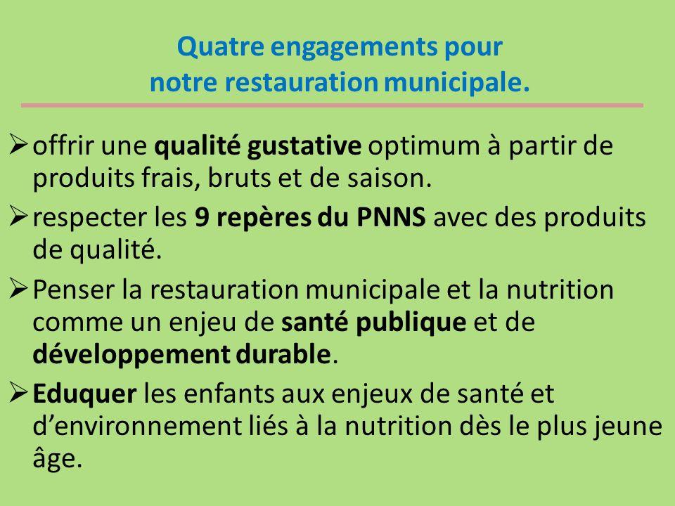 Quatre engagements pour notre restauration municipale. offrir une qualité gustative optimum à partir de produits frais, bruts et de saison. respecter