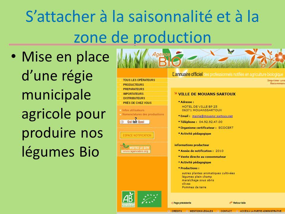 Sattacher à la saisonnalité et à la zone de production Mise en place dune régie municipale agricole pour produire nos légumes Bio