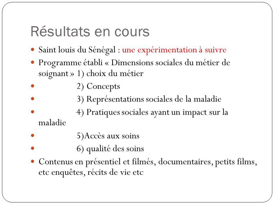Résultats en cours Saint louis du Sénégal : une expérimentation à suivre Programme établi « Dimensions sociales du métier de soignant » 1) choix du mé