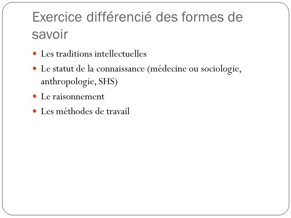 Exercice différencié des formes de savoir Les traditions intellectuelles Le statut de la connaissance (médecine ou sociologie, anthropologie, SHS) Le raisonnement Les méthodes de travail