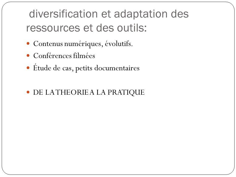 diversification et adaptation des ressources et des outils: Contenus numériques, évolutifs.