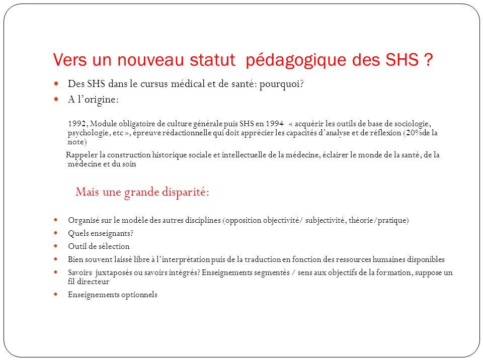 Vers un nouveau statut pédagogique des SHS ? Des SHS dans le cursus médical et de santé: pourquoi? A lorigine: 1992, Module obligatoire de culture gén