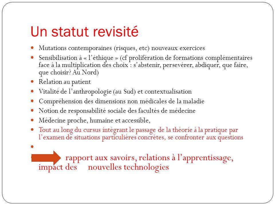 Un statut revisité Mutations contemporaines (risques, etc) nouveaux exercices Sensibilisation à « léthique » (cf prolifération de formations complémen