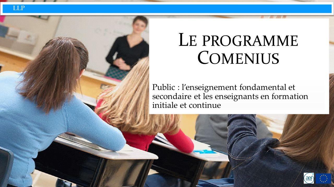 LLP Comenius : proposer la mobilité et les échanges européens à lenseignement obligatoire Aider les jeunes à acquérir les qualifications et les compétences vitales de base qui sont nécessaires à leur développement personnel, à leur activité professionnelle future et à une citoyenneté européenne active mondiale.