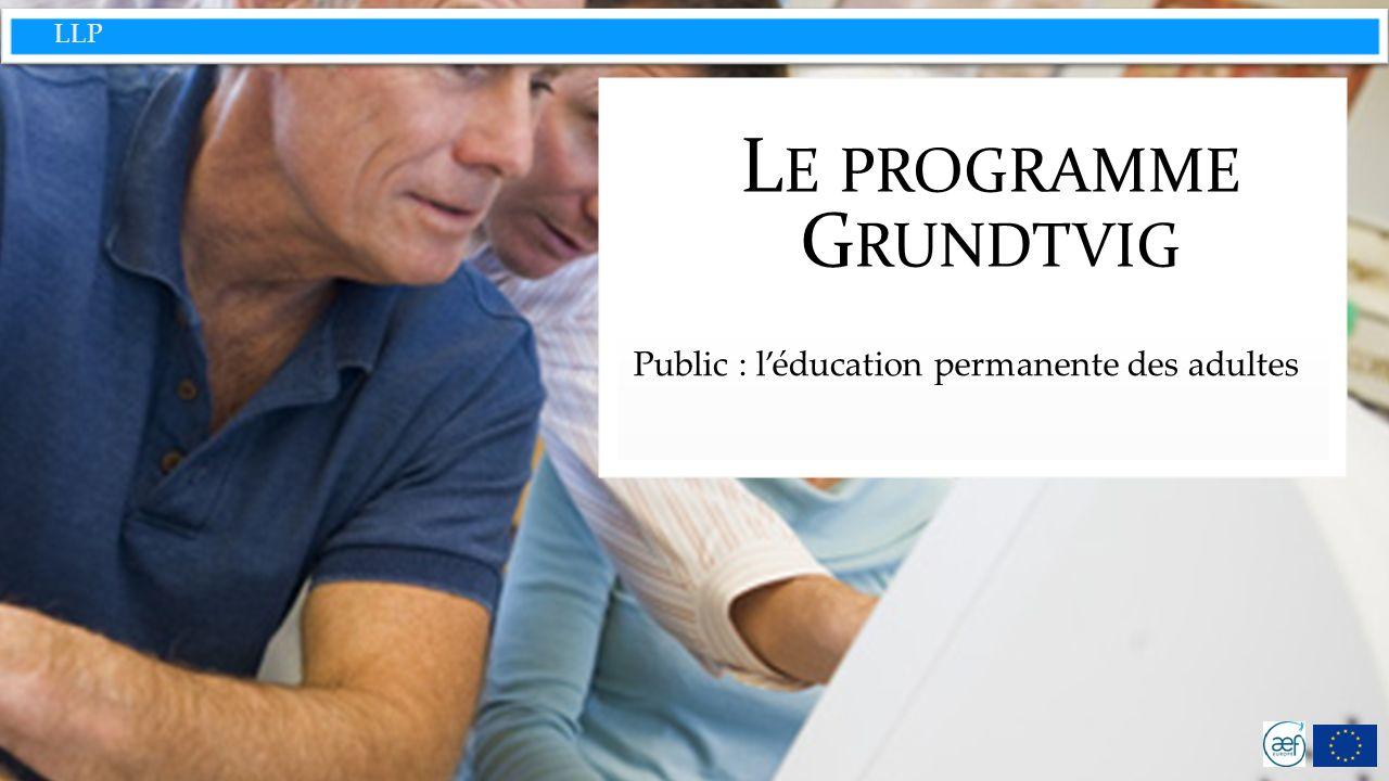 LLP Grundtvig : une énorme diversité des thématiques abordées et des institutions éligibles Répondre au défi que pose une population européenne vieillissante dans le domaine de l éducation.