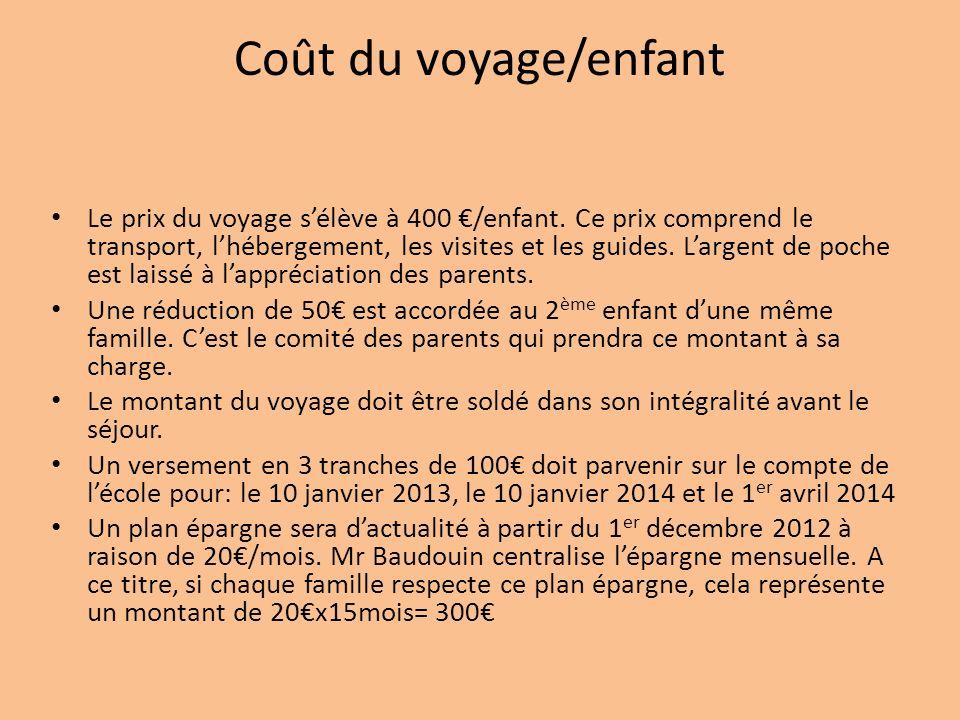 Coût du voyage/enfant Le prix du voyage sélève à 400 /enfant.
