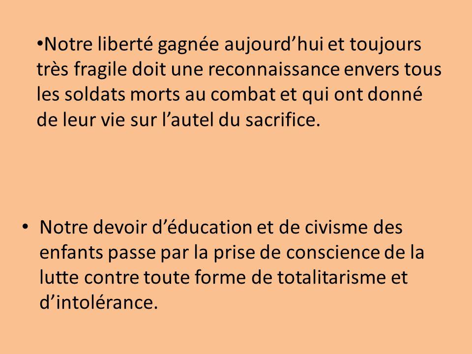 Notre devoir déducation et de civisme des enfants passe par la prise de conscience de la lutte contre toute forme de totalitarisme et dintolérance.