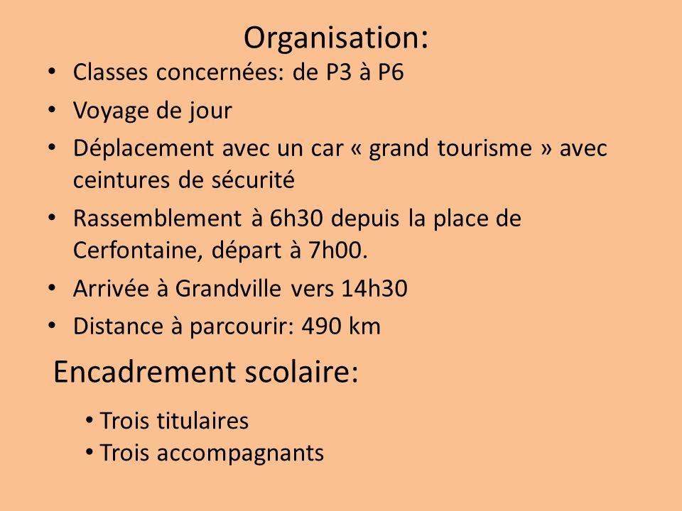 Organisation : Classes concernées: de P3 à P6 Voyage de jour Déplacement avec un car « grand tourisme » avec ceintures de sécurité Rassemblement à 6h30 depuis la place de Cerfontaine, départ à 7h00.