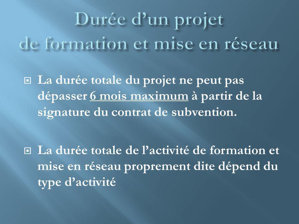 La durée totale du projet ne peut pas dépasser 6 mois maximum à partir de la signature du contrat de subvention. La durée totale de lactivité de forma