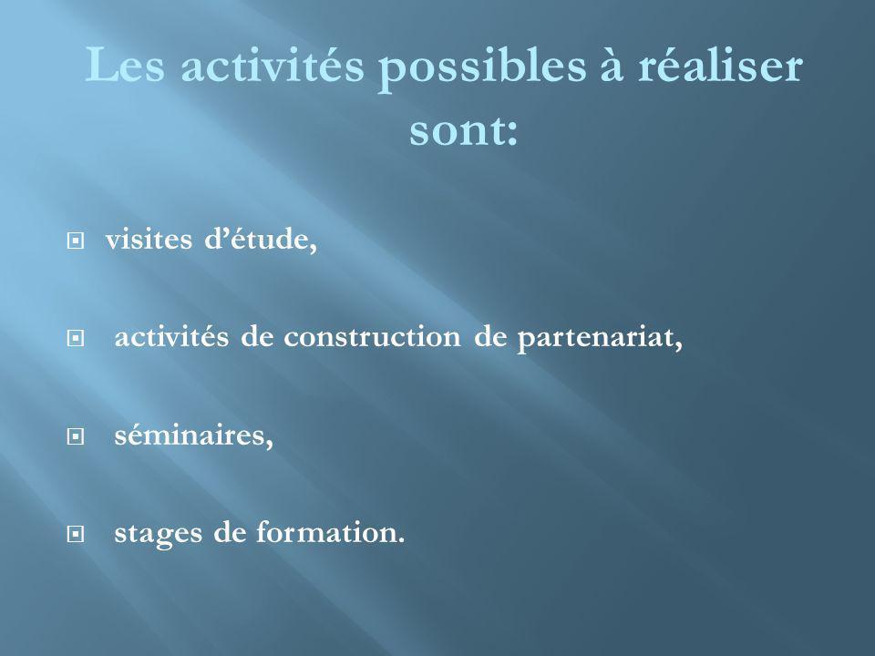 Les activités possibles à réaliser sont: visites détude, activités de construction de partenariat, séminaires, stages de formation.