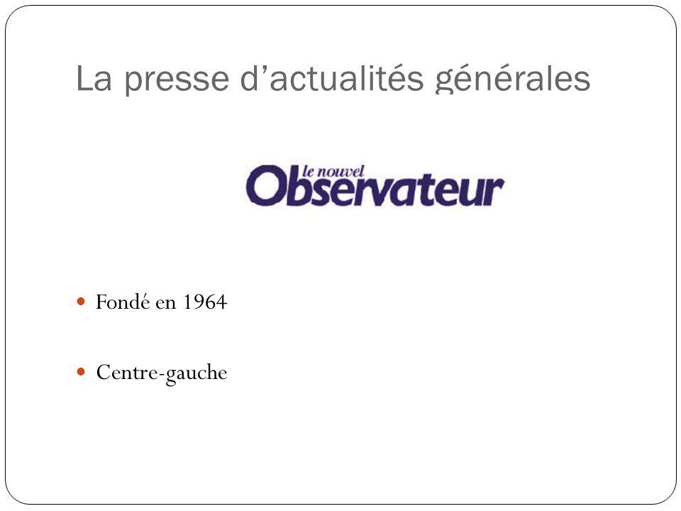 La presse dactualités générales Fondé en 1953 Position anticolonialiste Axé à droite Fondé en 1972 par des journalistes partis de LExpress