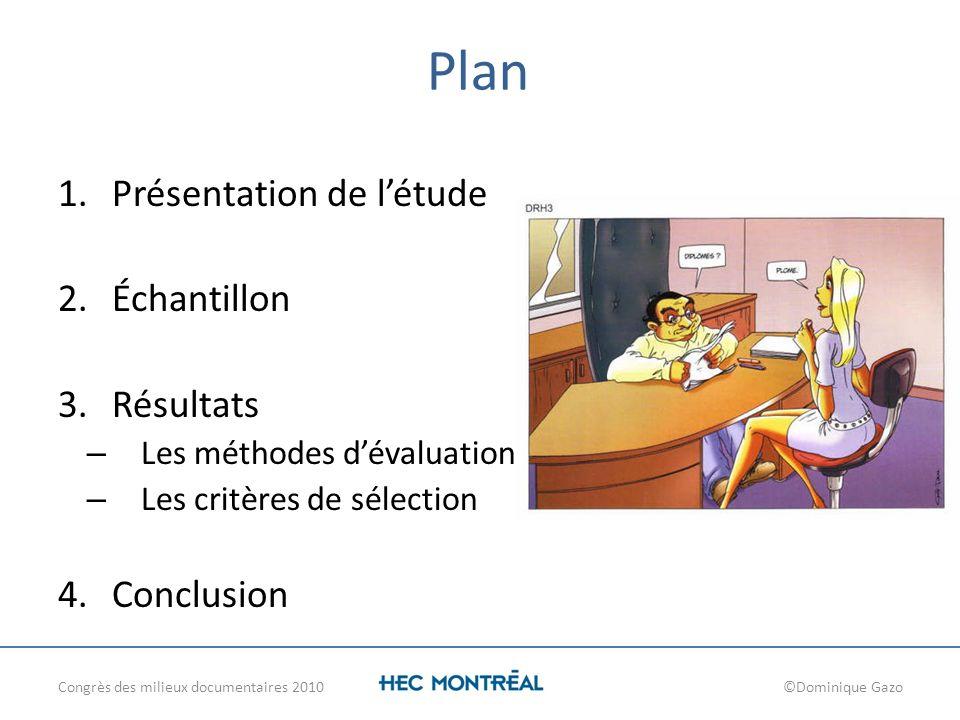 Plan 1.Présentation de létude 2.Échantillon 3.Résultats – Les méthodes dévaluation – Les critères de sélection 4.Conclusion Congrès des milieux docume