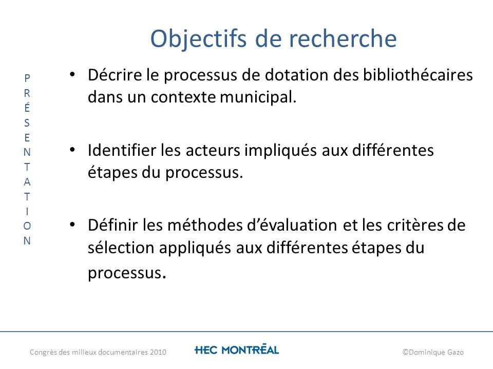 Objectifs de recherche Décrire le processus de dotation des bibliothécaires dans un contexte municipal. Identifier les acteurs impliqués aux différent