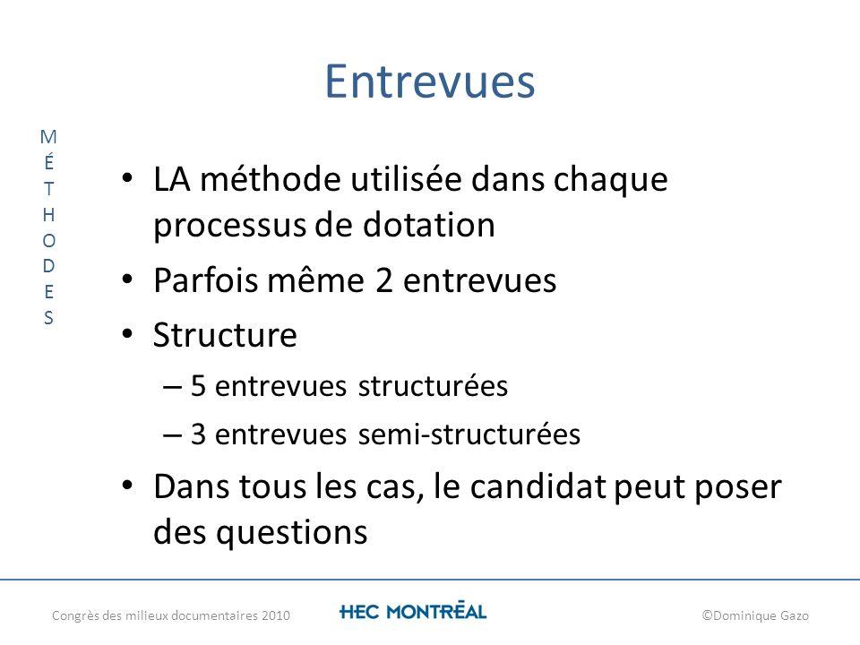 Entrevues LA méthode utilisée dans chaque processus de dotation Parfois même 2 entrevues Structure – 5 entrevues structurées – 3 entrevues semi-struct