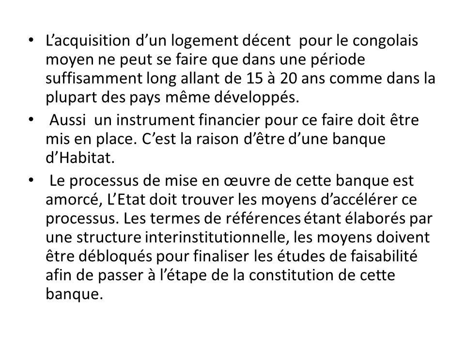 Lacquisition dun logement décent pour le congolais moyen ne peut se faire que dans une période suffisamment long allant de 15 à 20 ans comme dans la p