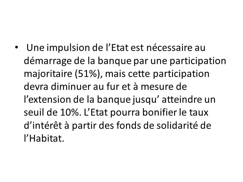 Une impulsion de lEtat est nécessaire au démarrage de la banque par une participation majoritaire (51%), mais cette participation devra diminuer au fu