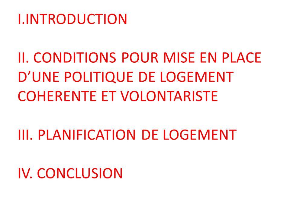 I.INTRODUCTION II. CONDITIONS POUR MISE EN PLACE DUNE POLITIQUE DE LOGEMENT COHERENTE ET VOLONTARISTE III. PLANIFICATION DE LOGEMENT IV. CONCLUSION