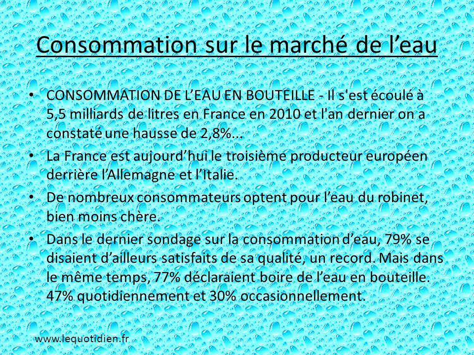 Consommation sur le marché de leau CONSOMMATION DE LEAU EN BOUTEILLE - Il s'est écoulé à 5,5 milliards de litres en France en 2010 et l'an dernier on