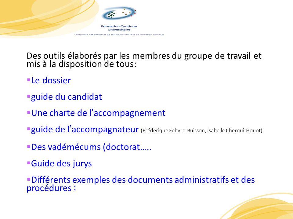 PrP Des outils élaborés par les membres du groupe de travail et mis à la disposition de tous: Le dossier guide du candidat Une charte de laccompagneme