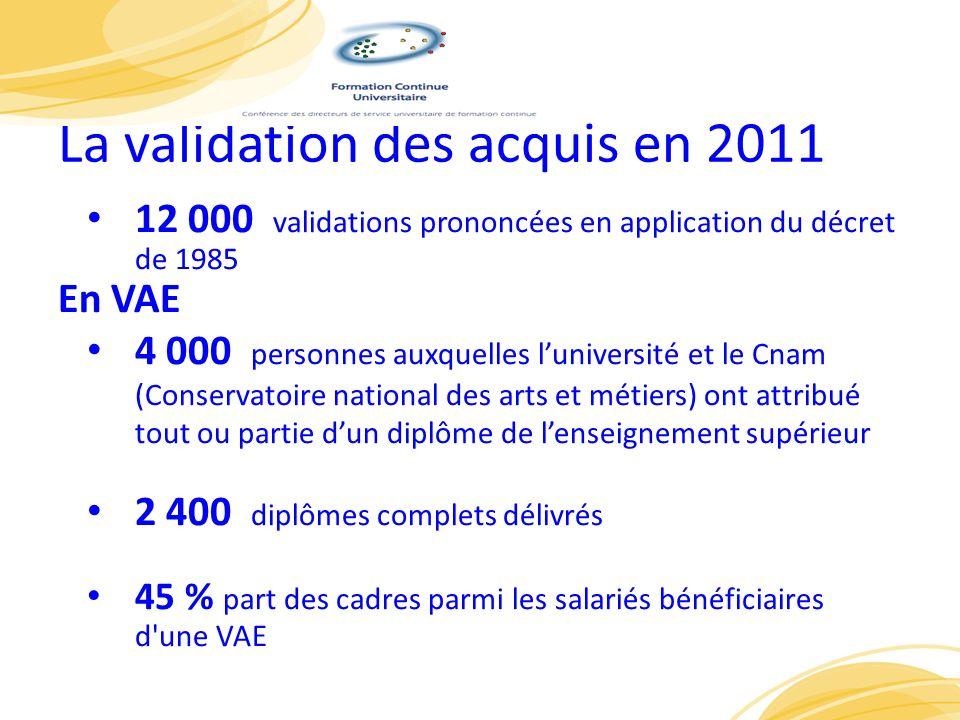La validation des acquis en 2011 12 000 validations prononcées en application du décret de 1985 En VAE 4 000 personnes auxquelles luniversité et le Cn