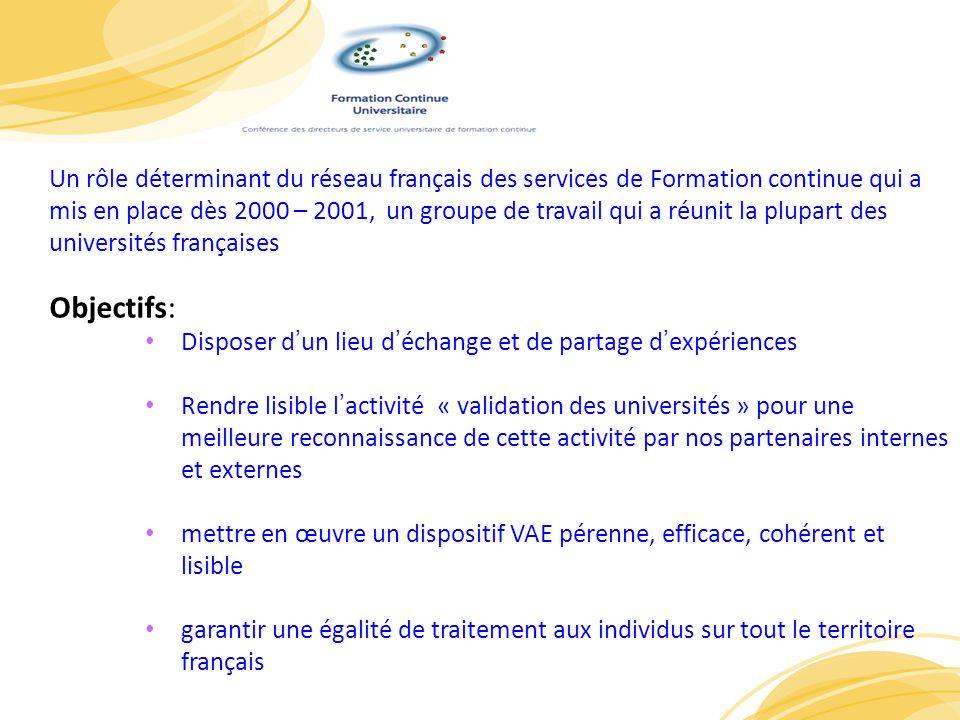 7 Un rôle déterminant du réseau français des services de Formation continue qui a mis en place dès 2000 – 2001, un groupe de travail qui a réunit la p