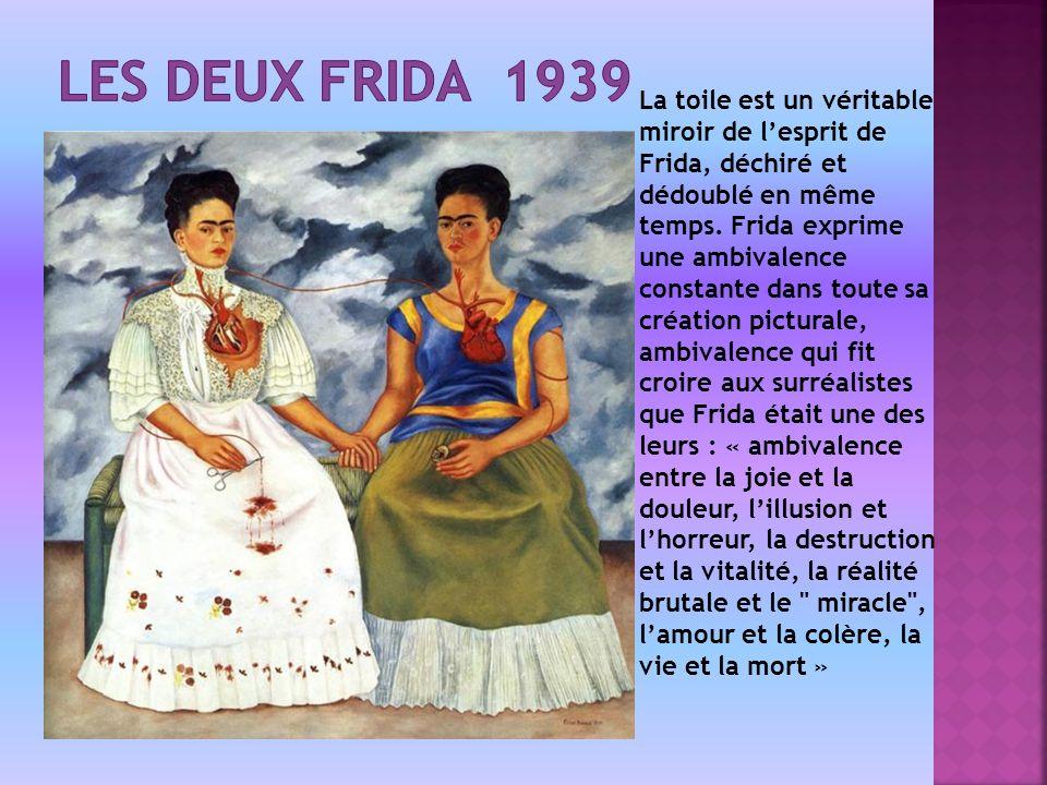 La toile est un véritable miroir de lesprit de Frida, déchiré et dédoublé en même temps.