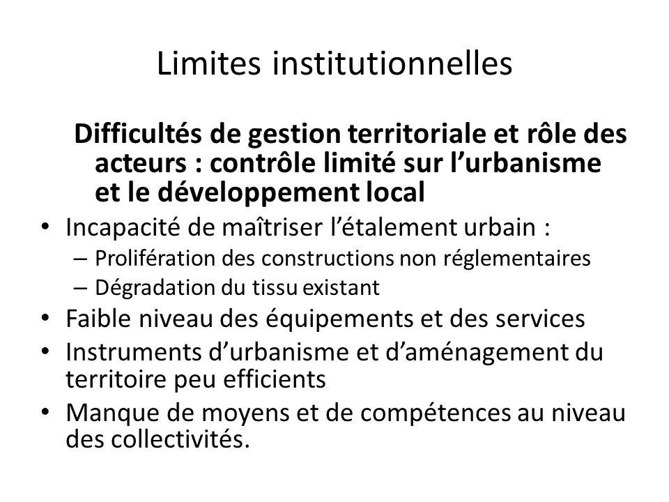Limites institutionnelles Difficultés de gestion territoriale et rôle des acteurs : contrôle limité sur lurbanisme et le développement local Incapacit