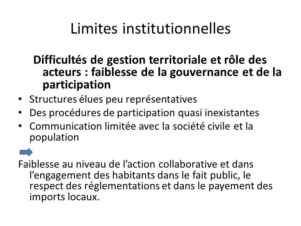 Limites institutionnelles Difficultés de gestion territoriale et rôle des acteurs : faiblesse de la gouvernance et de la participation Structures élue