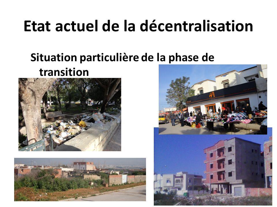 Etat actuel de la décentralisation Situation particulière de la phase de transition