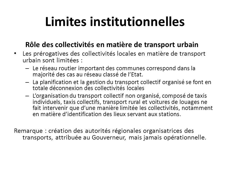 Limites institutionnelles Rôle des collectivités en matière de transport urbain Les prérogatives des collectivités locales en matière de transport urb